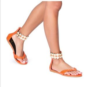 Bright Orange Shoedazzle Sandals